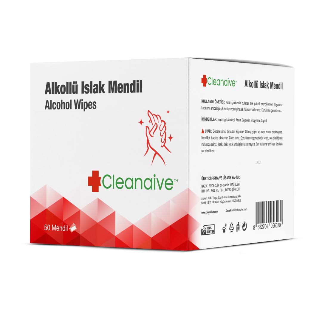 Cleanaive Alkollü Islak Mendil - 50 Mendil