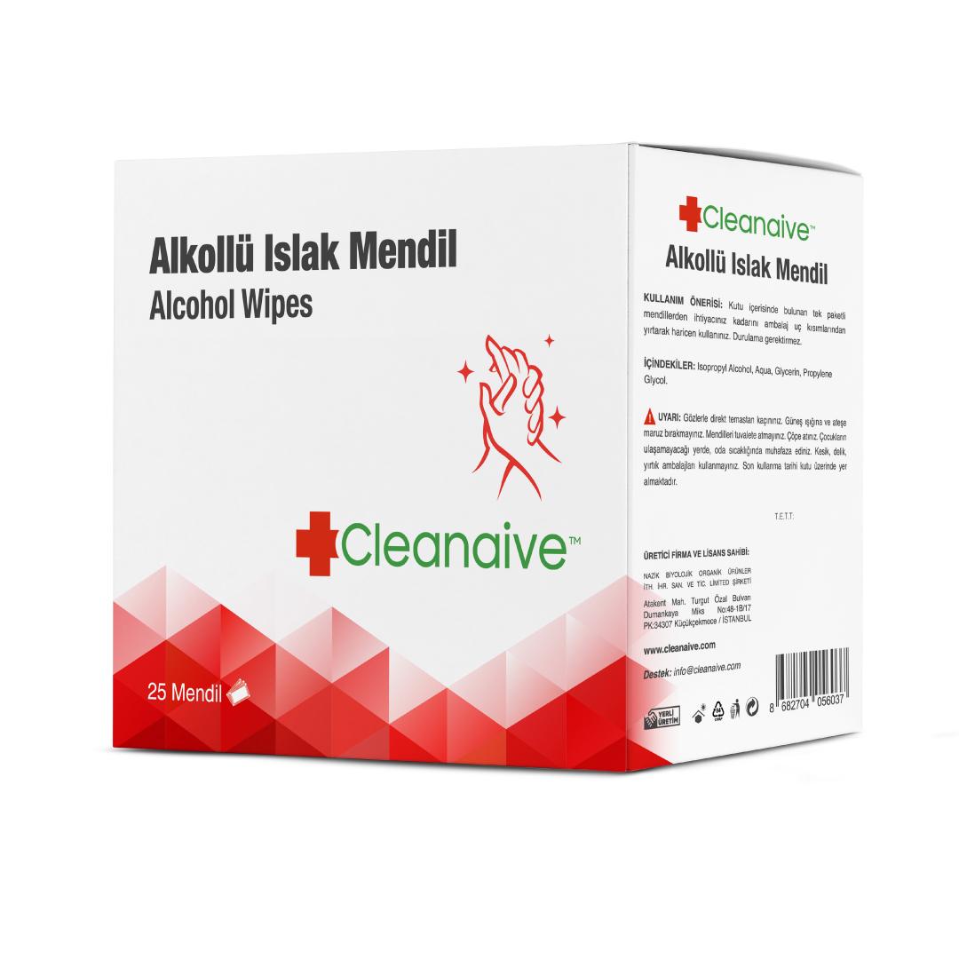 Cleanaive Alkollü Islak Mendil  - 25 Mendil